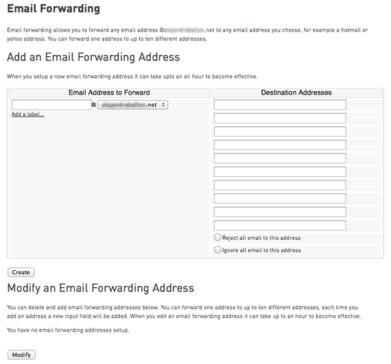 email forwarding page