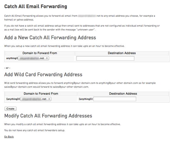 catch all email forwarding page