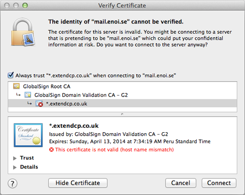 Apple Mail doesn't trust security certificate | ENOISE Support